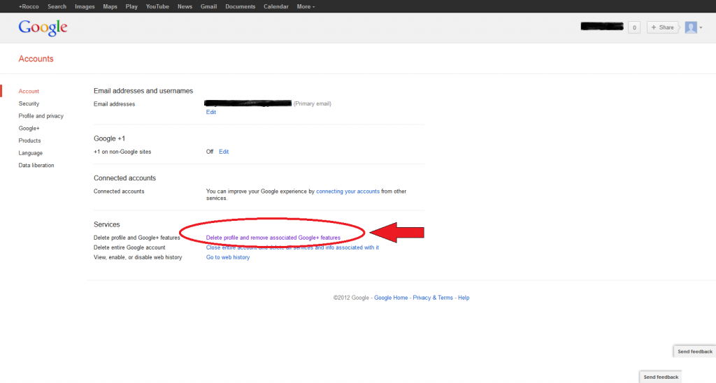 Delete profile and remove associated Google+ features