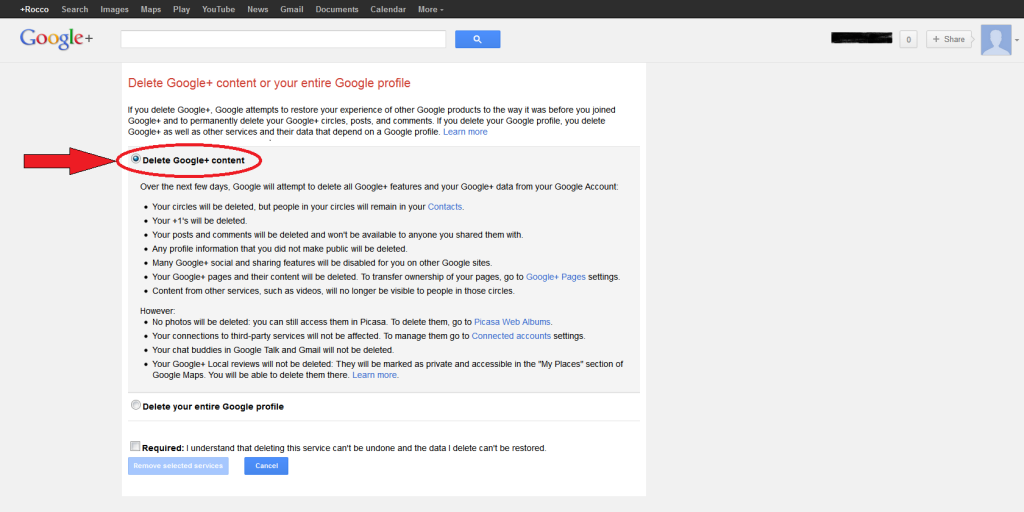 Delete Google+ content
