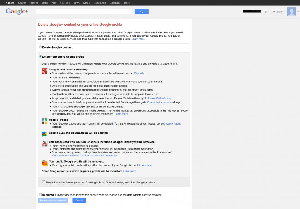 Delete your Google profile
