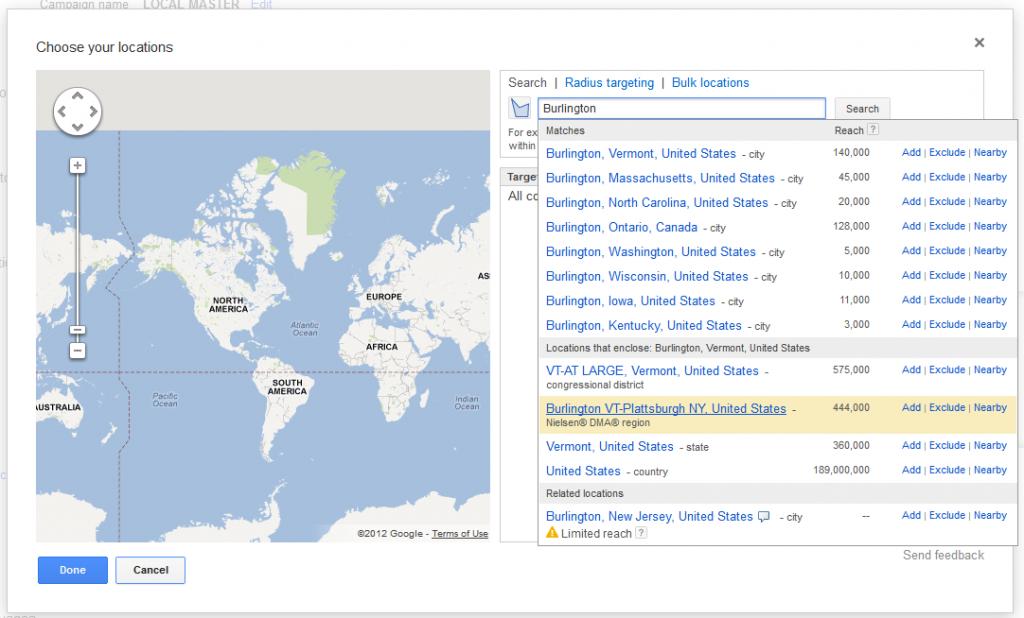 Adwords Location Targeting Burlington Plattsburgh