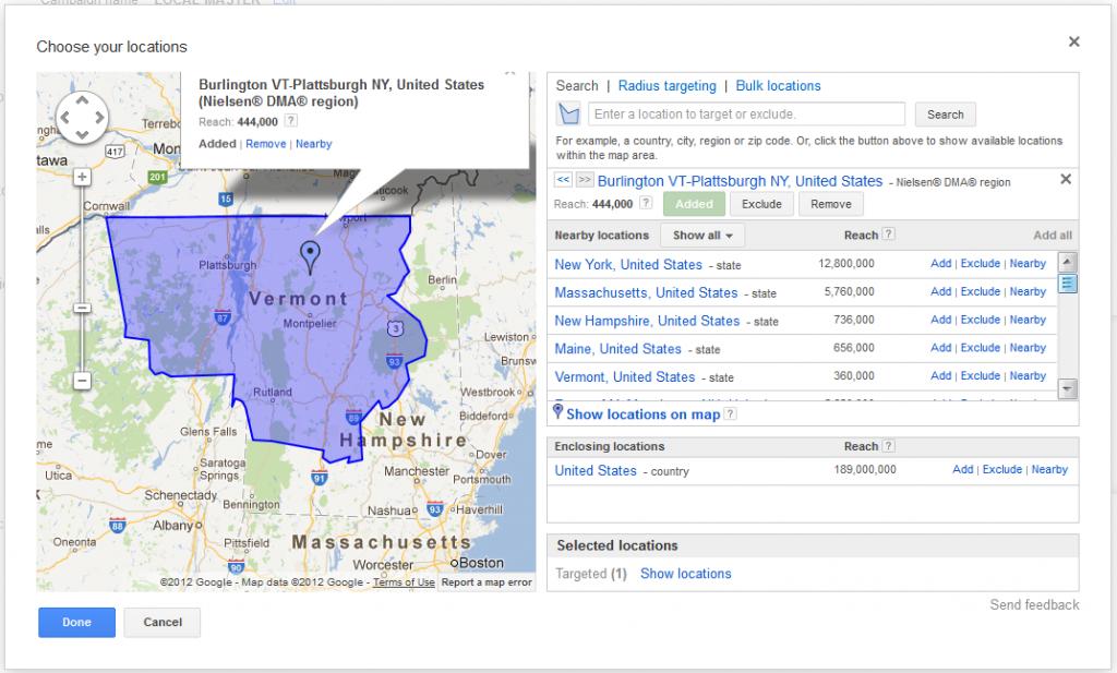 Adwords Location Targeting Burlington Plattsburgh Map