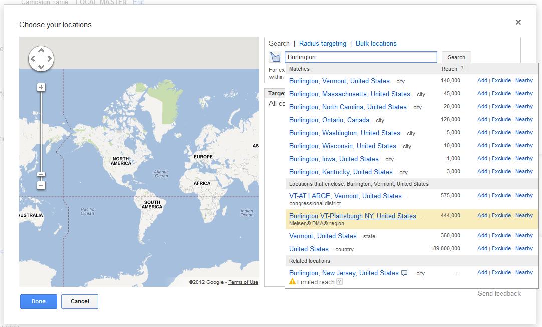 Google Adwords Nielsen® DMA® Regions Location Targeting | News | VDW