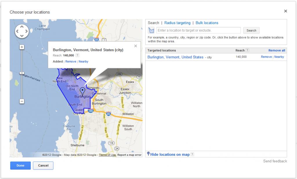 Adwords Location Targeting Burlington VT