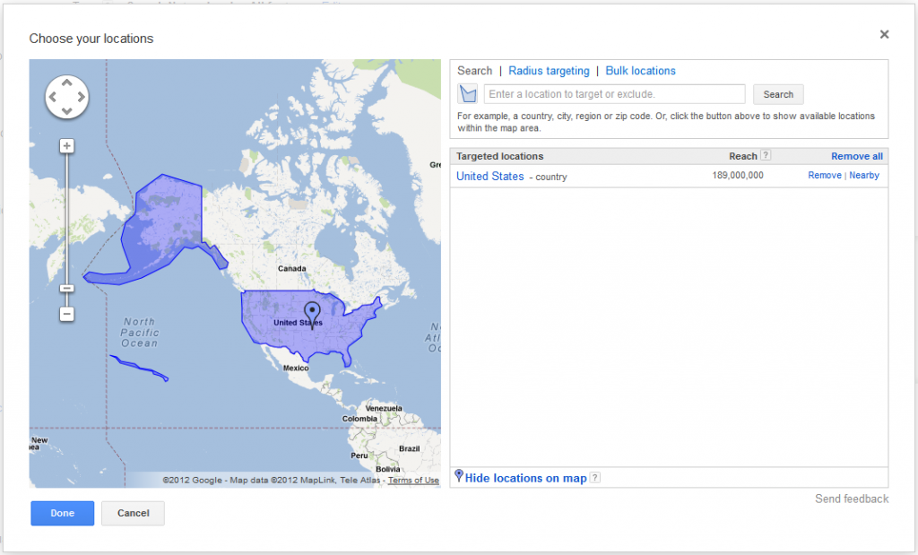 Adwords Location Targeting United States