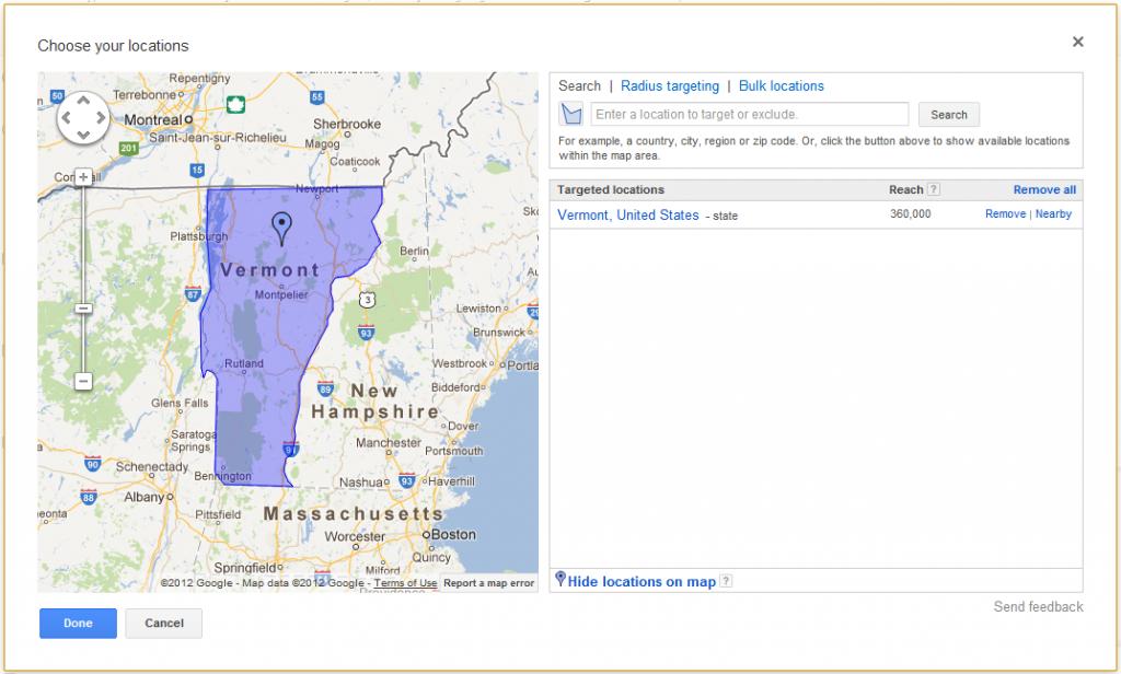 Adwords Location Targeting Vermont
