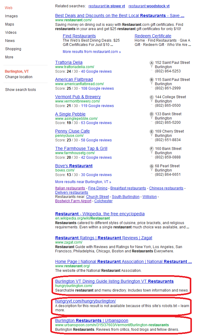 Organic Search Results Increasingly Local Google Venice News Vdw