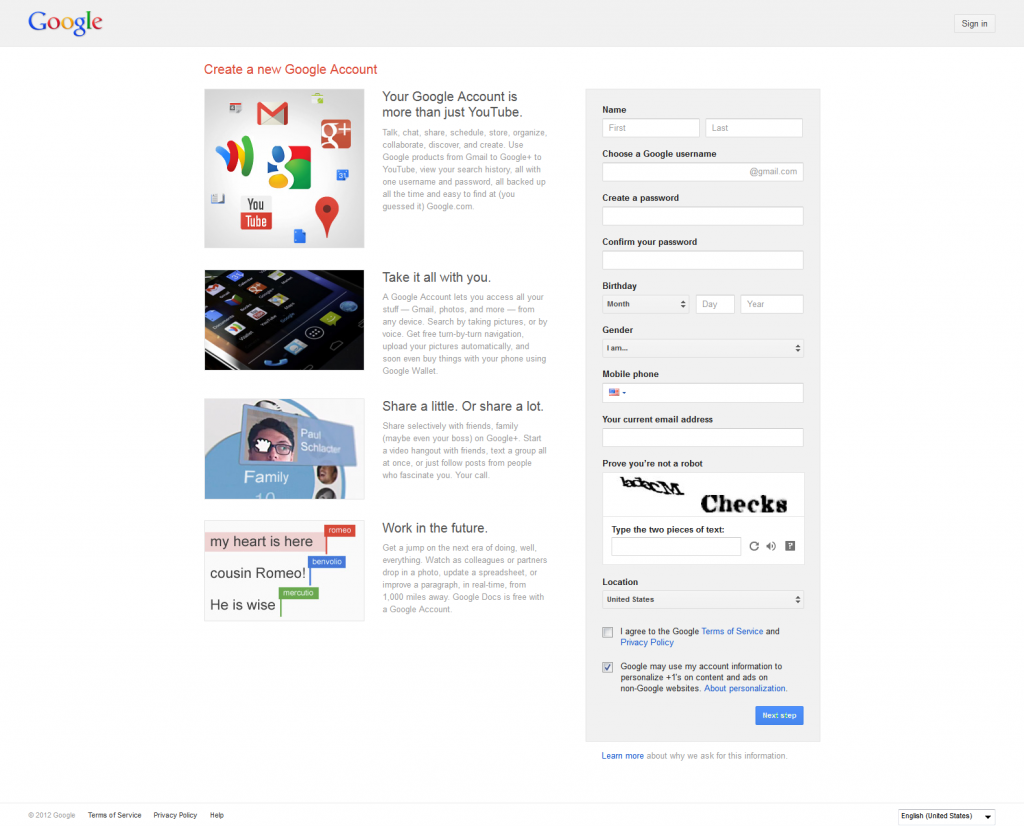 Create Google YouTube Account