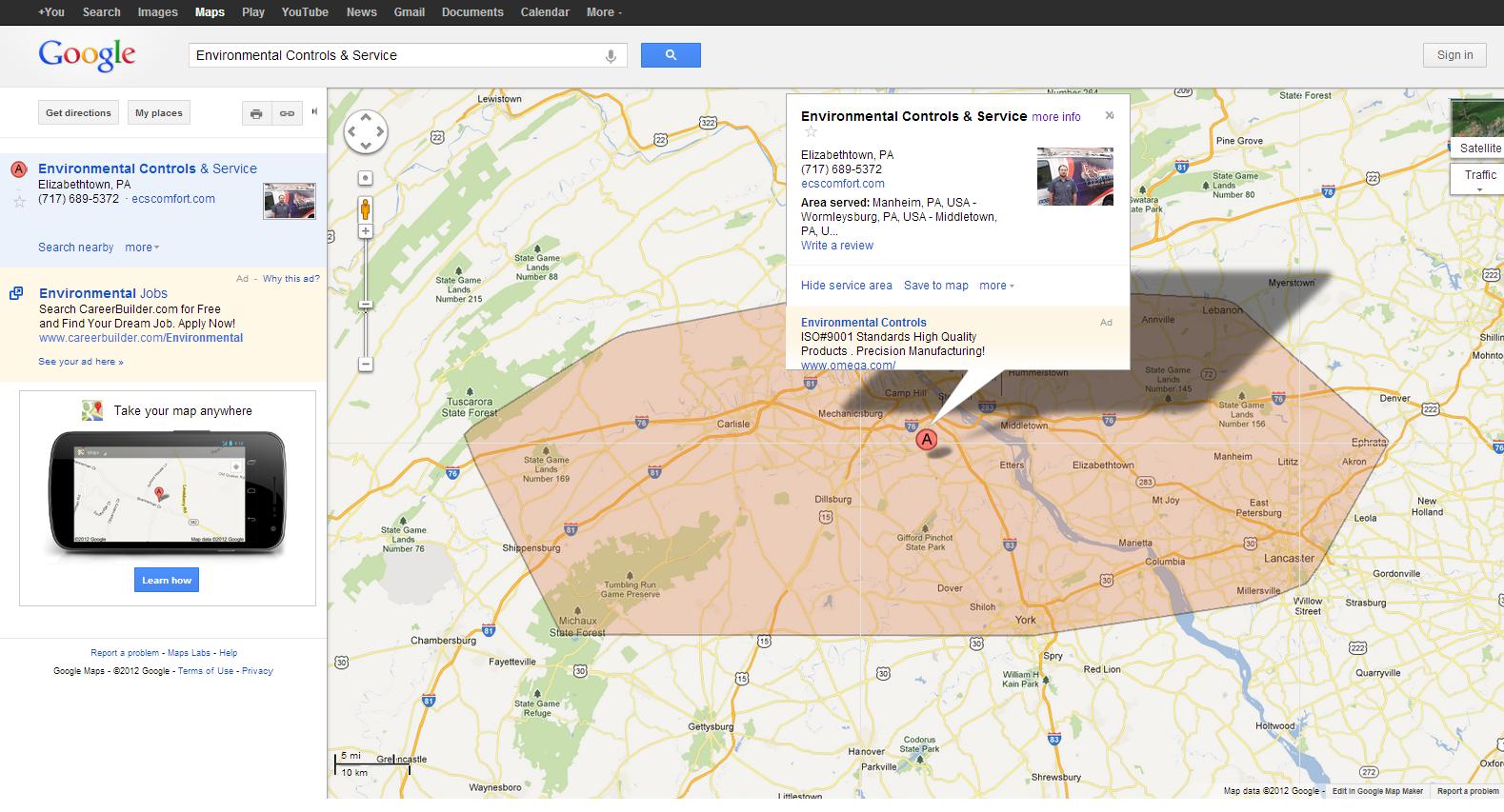 google maps show service area feature -  ecs complete pa service area map