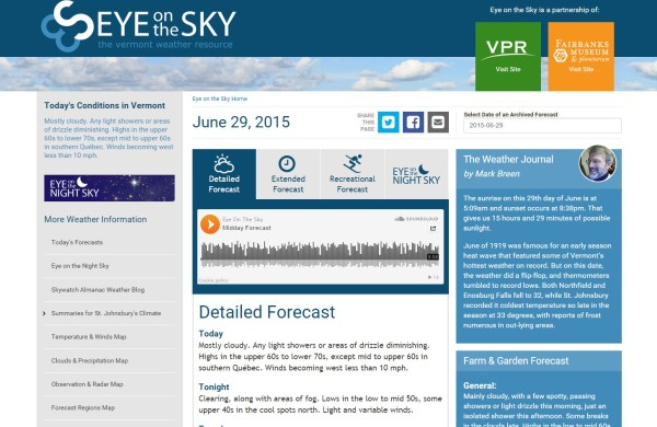 Website Launch: Eye on the Sky VT Weather | News | VDW
