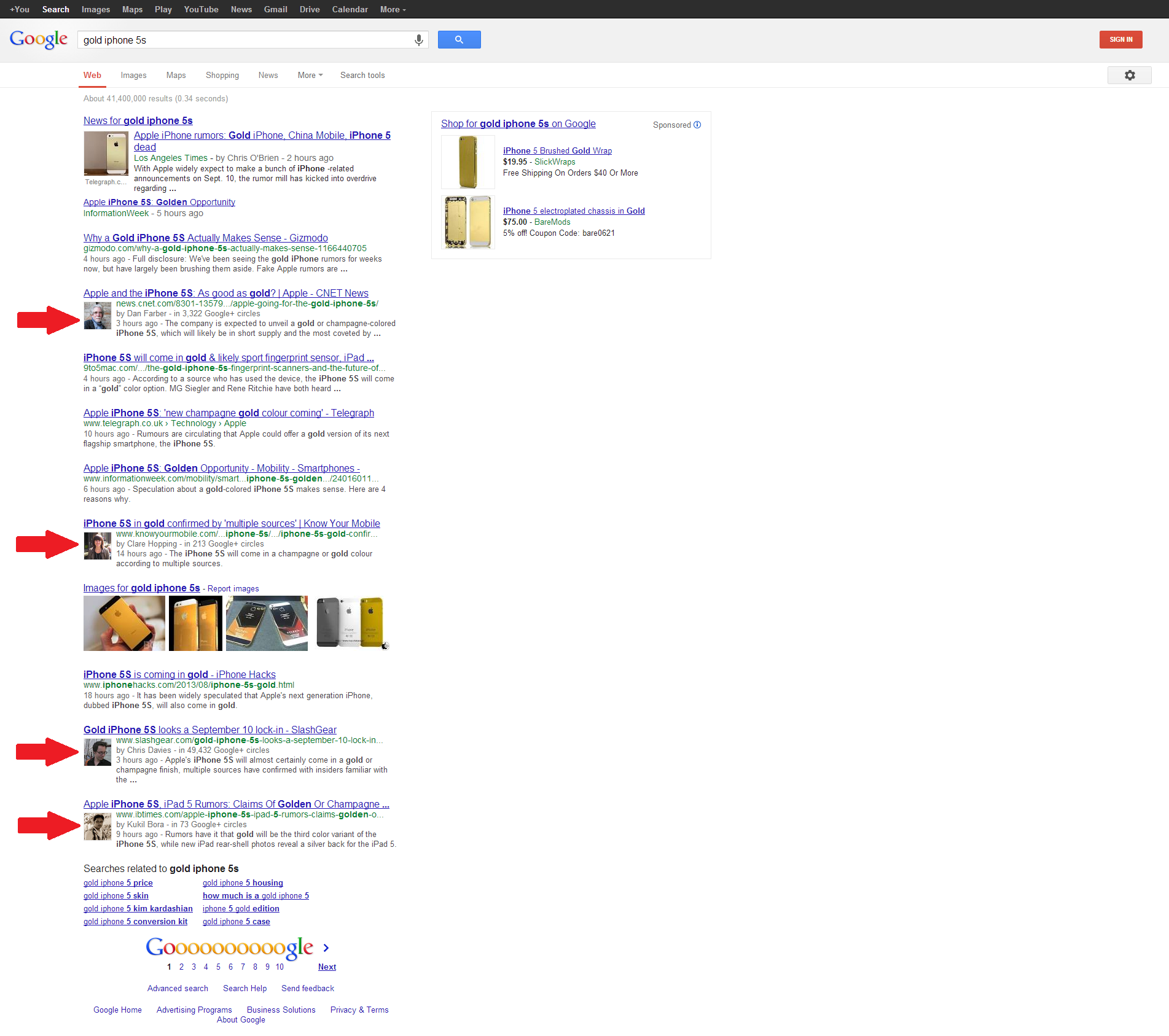 Gold iPhone 5S Google Results