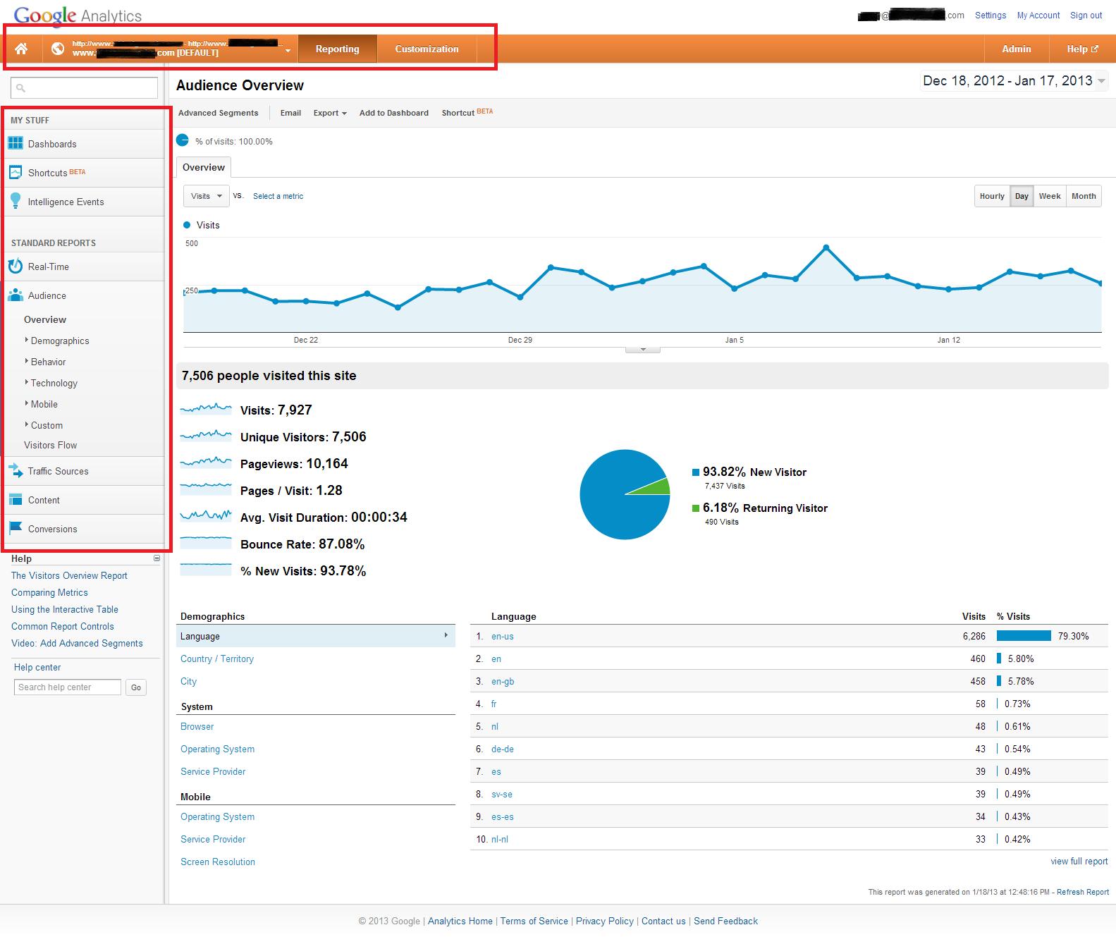 Google Analytics Interface 2013