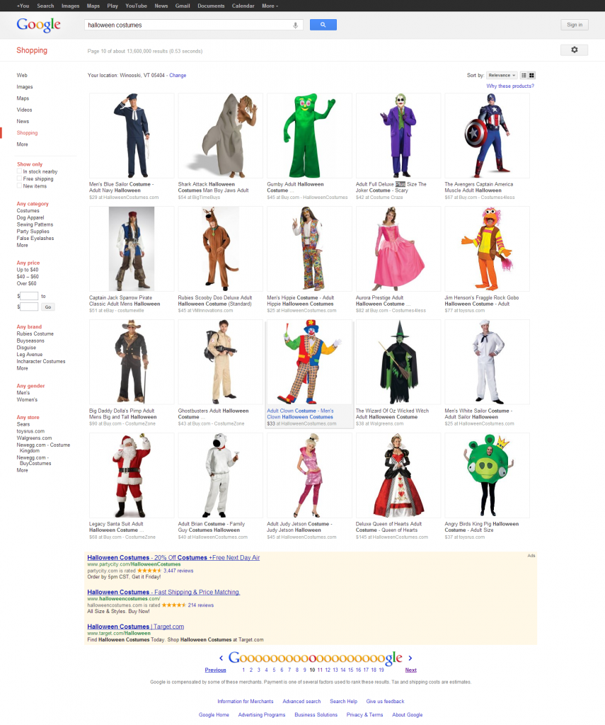Google Halloween Costumes Shopping Results 10