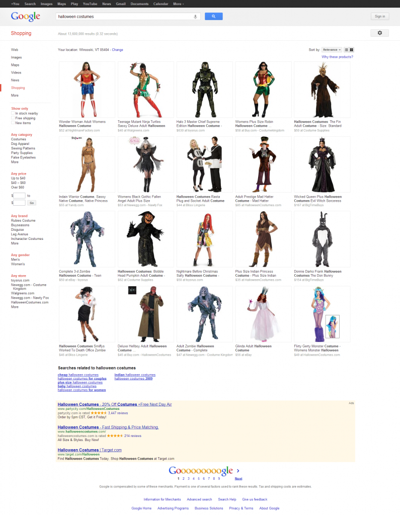 Google Halloween Costumes Shopping Results