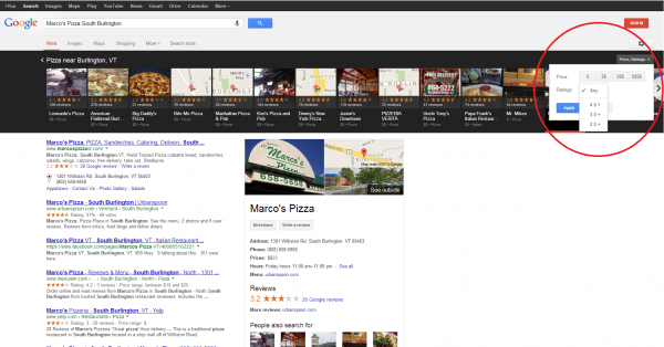 Google Local Carousel Filters
