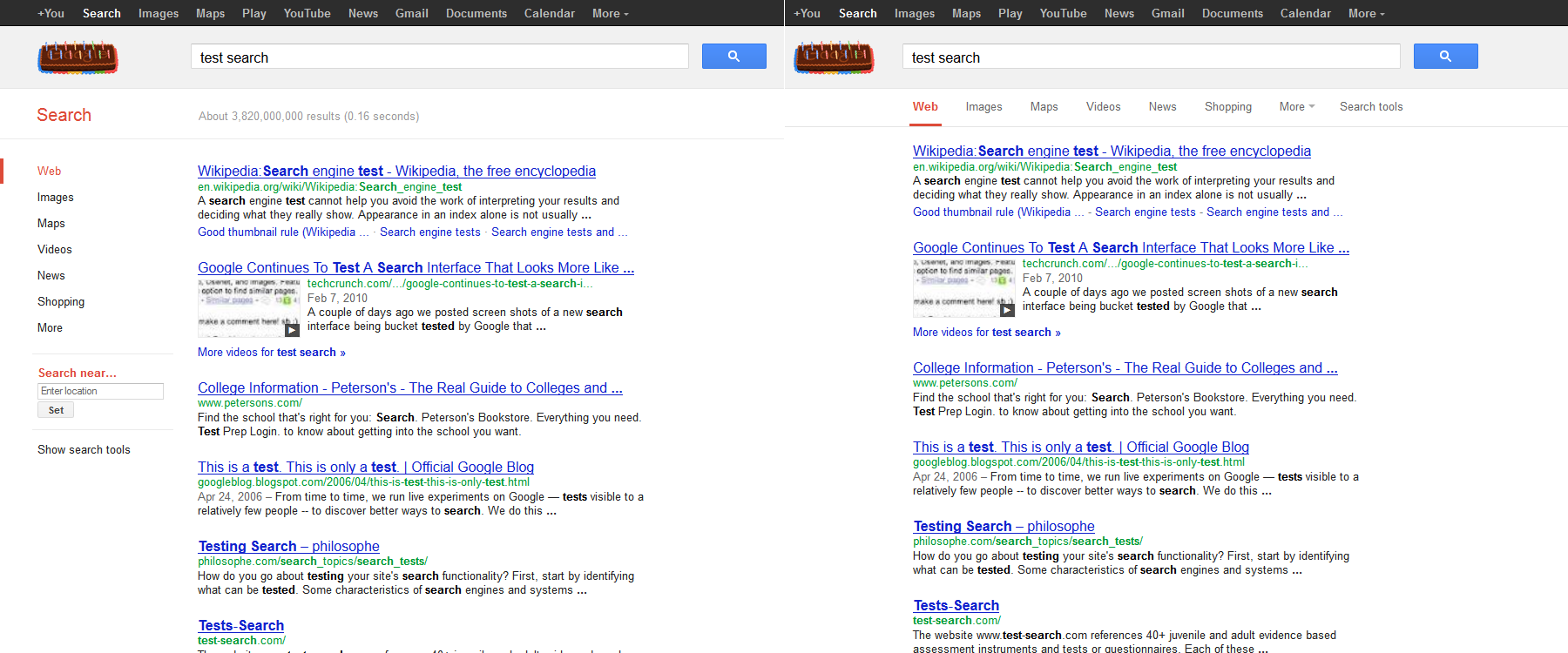 Google Testing Navigation/Interface Changes for Search
