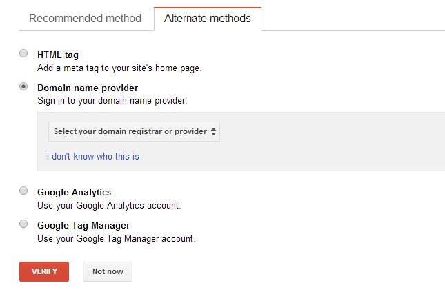 Google WMT Verification - Domain Name Provider