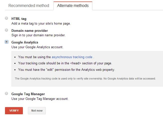 Google WMT Verification - Google Analytics
