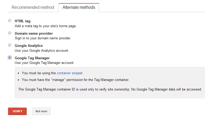 Google WMT Verification - Google Tag Manager