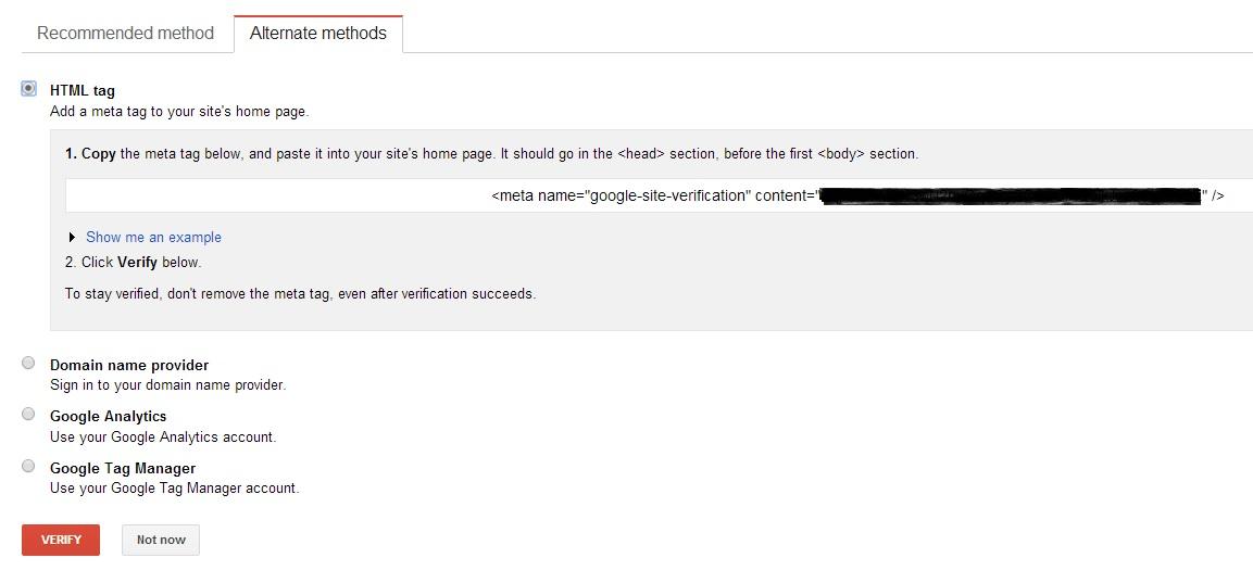 Google WMT Verification - HTML Tag