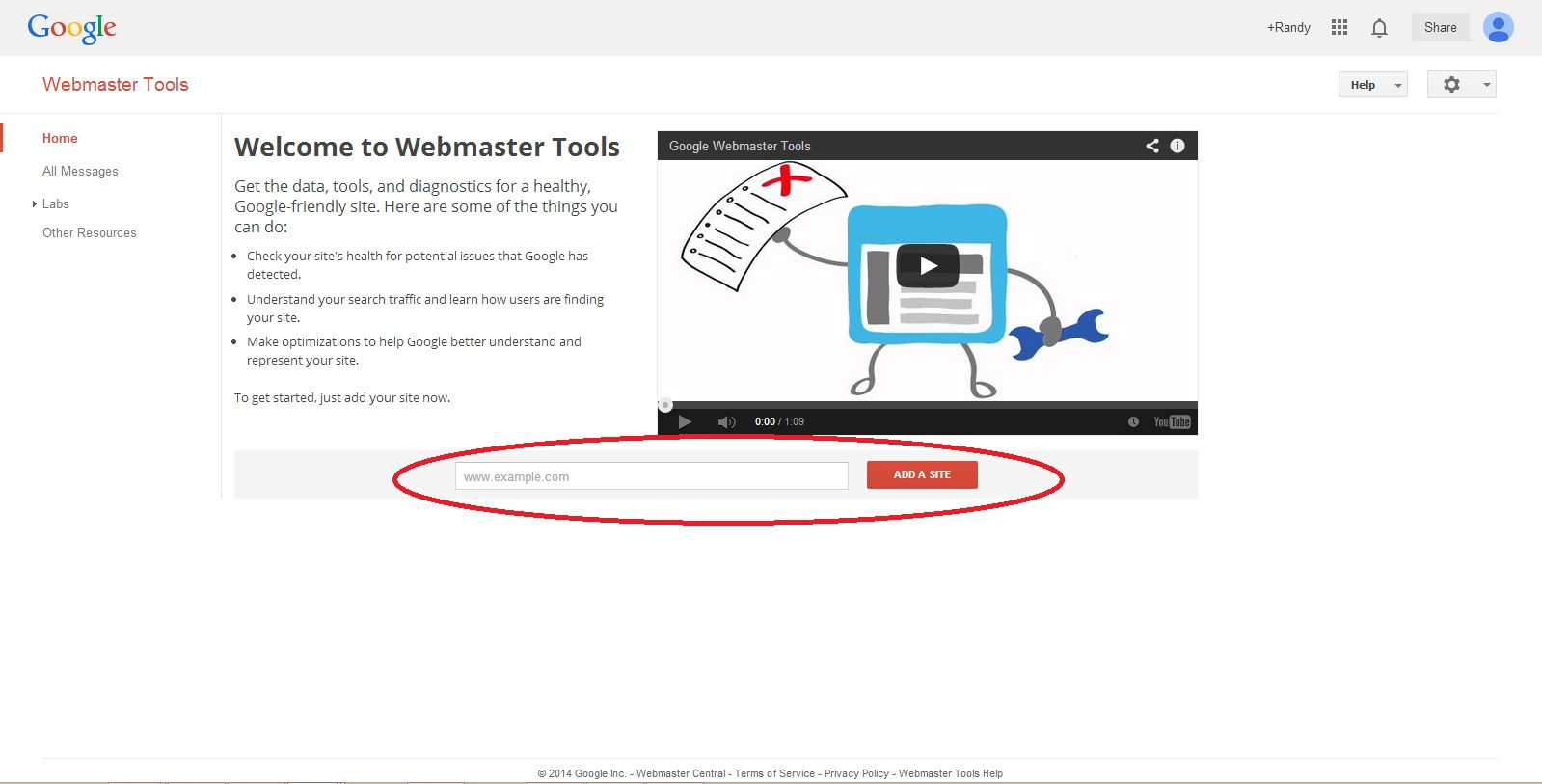 Google Webmaster Tools Home Page