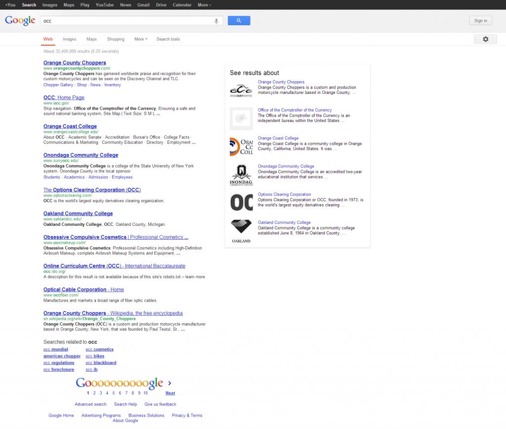 OCC Google Search
