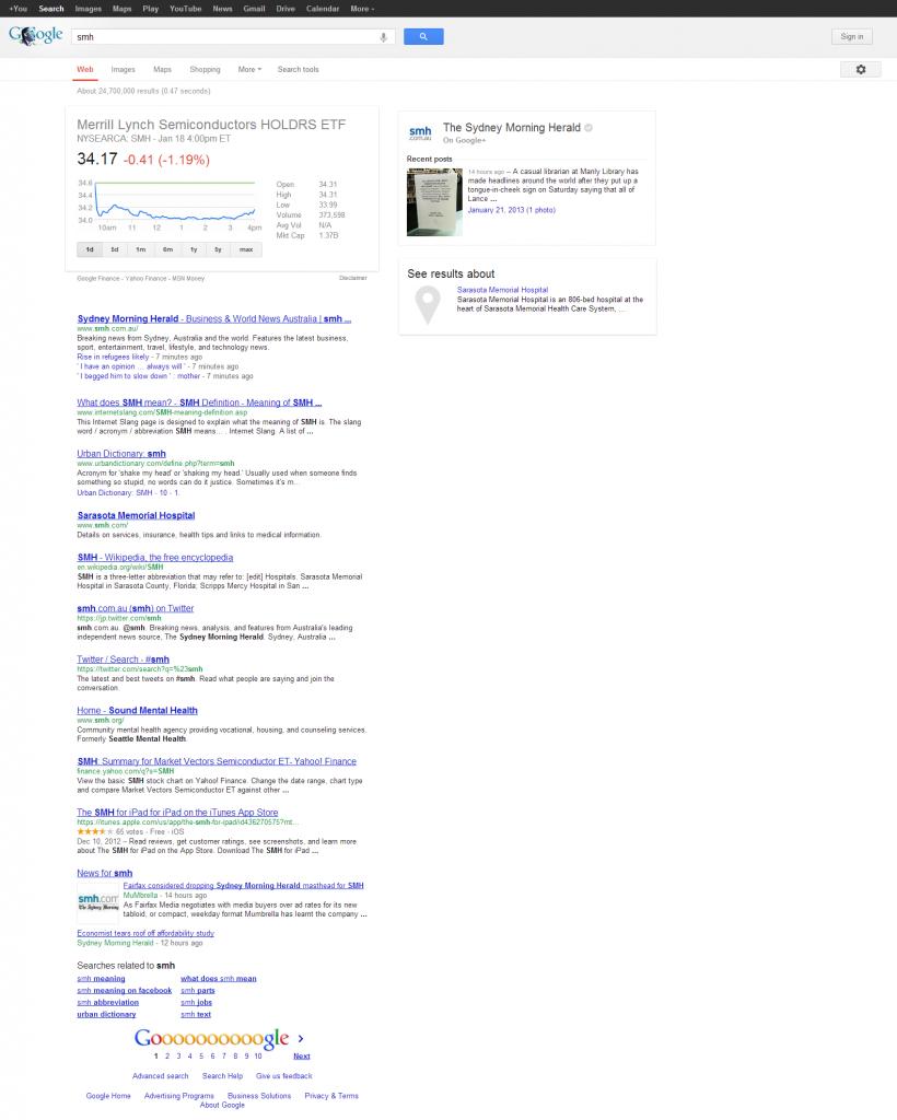 SMH Google Search